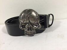 Skull Belt Buckle With Black Belt Mens Size 31