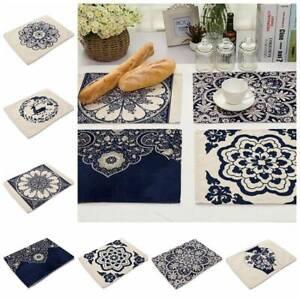 Navy Blue Porcelain Placemat Cotton Linen Home Dining Kitchen Table Mat Cup Pad