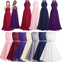 UK Girls Flower Dress Princess Formal Party Wedding Bridesmaid Lace Gown Dresses