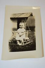Vintage 1940s Baby Riding on a Walker / Tricycle Farm Black & White Photograph
