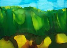 "GREEN HILLS LANDSCAPE Original Alcohol Ink Yupo Painting 5""x7"" Julia Garcia NEW"