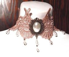 PINK WIDE LACE CHOKER Victorian Steampunk gothic lolita bronze pearl necklace Y4