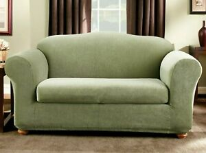 Sure Fit Stretch Pin Stripe 2-Piece Loveseat Slipcover Sage Green