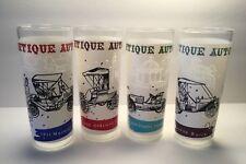 4 Vintage Anchor Hocking Hi Ball Ice Tea Glasses Tumblers Antique Autos Cars