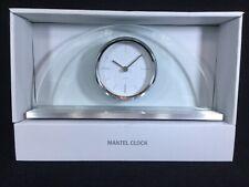 Half Moon Glass Mantel Clock Quartz on Brushed Silver Metal Base - Bargain!!!
