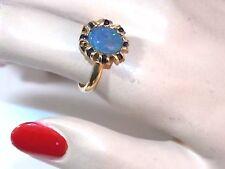 British Hallmarked QVC 9c 375 Gold Opal Triplet Blue Sapphire Ring 10h 33
