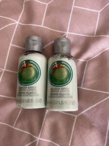 Brand New BODY SHOP GLAZED APPLE SHIMMER BODY LOTION 60ml X2 *RARE DISCONTINUED*