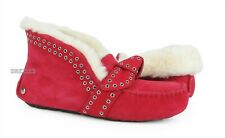 UGG Poler Alena Lipstick Red Suede Fur Slippers Womens Size 7 *NIB*