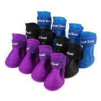 Pet Dog Boots Shoes Candy Colors Waterproof Rubber Rain Shoes Booties jlk