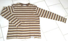 Tee shirt homme taille L C&A rayé marron-beige manches longues col rond