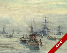 SHIPS IN SCAPA FLOW SCOTLAND WWI WORLD WAR 1 MILITARY ART PAINTING CANVAS PRINT