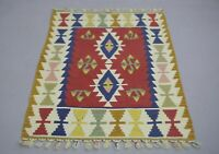 Anatolian Hand Knotted Tribal Kilim Area Rug Traditional Ethnic Carpet 3x4 ft