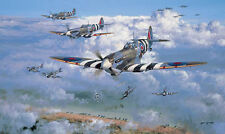 D-Day Normandy print Over The Beaches signed 4 pilots inc rare Battle of Britain
