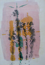 COMPOSITION ABSTRAITE AQUARELLE/GOUACHE SUR PAPIER SIGNEE M. LITTY DATEE 1978 1