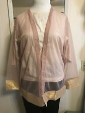 NWT ELEGANT Sterling Styles Sheer Rose Topper With Gold Trim Sleeves & Hem OSFM