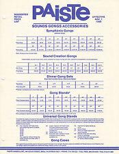 #MISC-0576 - NOV 1 1986 PAISTE GONG musical instrument catalog price list