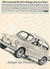 1965 Fiat 600D -  Da Vinci Design- Original Advertisement Print Art Car Ad J763