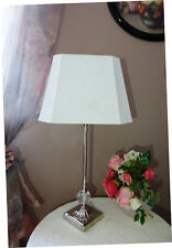 Tischlampe Jana H60cm Schirm 8-Kant Leinen weiß E27 Fuß Nickel glanz mit Klunker