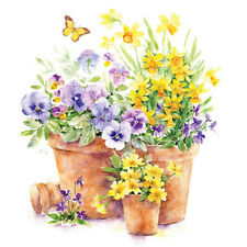 PANSIES IN A POT 20 Paper Napkins Decoration Floral Spring Decoupage - Lunch