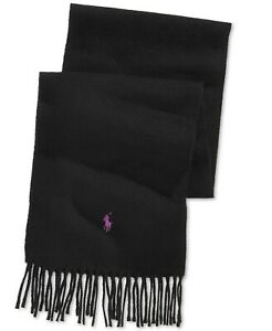 POLO RALPH LAUREN Pony Logo Men's Cashmere Wool Blend Scarf Solid Black NEW $95