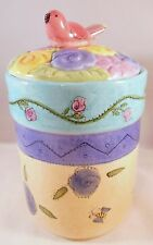 SANGO CANISTER SMALL BIRDS AND BEES Lady Bug The Flowers Sue Zipkin Ceramic