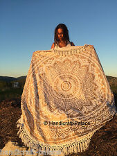 Hippie Ombre Mandala Round Indian Cotton Tapestry Beach Throw Yoga Mat Roundie