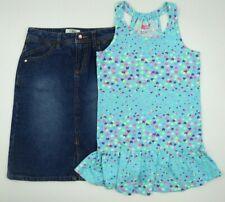 Multi Brand Girls 2 Piece Blue Sleeveless Dress Jean Skirt Set Size M 7/8