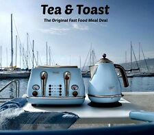 Delonghi Icona Kettle and Toaster Set  Blue Kettle & 4 Slice De'Longhi Toaster