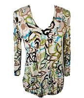 Chicos Travelers Womens Size 0 Multi Color Long Sleeve VNeck  Elastic Bottom Top