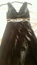 DEBENHAMS DEBUT SILK BLACK & GOLD MIDI DRESS PETITE PARTY  cruise calf length