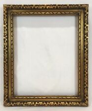 Vintage Mid 20th C Carved Wood Gold Black Red Frame 16 x 20 Opening