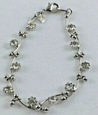 Silver Tone Monet Rounded Long Tube Glass Crystal Link Bracelet Lobster Claw