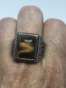 Vintage Stainless Steel Genuine Tiger's Eye Size 11.25 Men's Ring