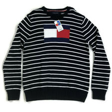 Tommy Hilfiger Mens Sweater Crewneck Flag Logo Stripe Blue Sz XL