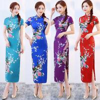Traditional Costume Sexy Women's Silk Satin Long Dress Cheongsam Qipao SZ S-3XL