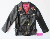 Betsey Johnson Girls Black Moto Jacket W/Rose Embroidery Sz 4,5,6 NWT