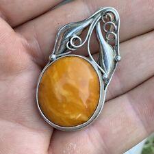 Vintage Sterling Silver Egg Yolk Butterscotch Baltic Amber Brooch Pendant