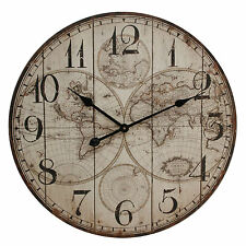 Hometime Large Shabby Vintage Chic World Map Pattern Wall Clock, 60cm, Basilia