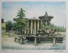 """EUROPEAN ETCHING PRINT """"FOUNTAIN IN PARK"""" SIGNED ILLEGIBLE C 1980 A"""