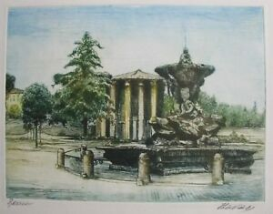 "EUROPEAN ETCHING PRINT ""FOUNTAIN IN PARK"" SIGNED ILLEGIBLE C 1980 A"
