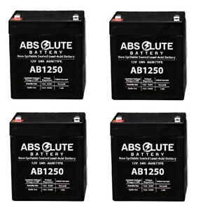 4 PACK NEW AB1250 12V 5AH SLA Replacement Battery for Securitron PSM24 Alarm