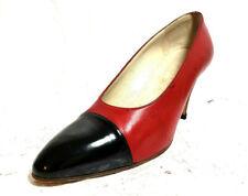 df5f36bb36a CHANEL Women s 2-Tone classic pumps Sz 6C Red Leather Black captoe Heels  shoes