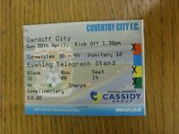 30/04/2006 Ticket: Coventry City v Cardiff City  . We try and inspect all our it