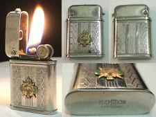 Briquet Ancien à l'Essence [> FLAMIDOR Avec Insigne <] Petrol Lighter  Feuerzeug