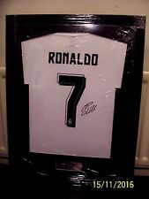 Cristiano Ronaldo Autographed shirt . Framed . Signed . Real Madrid