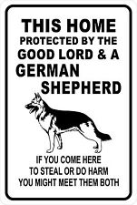 This HOME PROTECTED by GERMAN SHEPHERD Aluminum Sign 8 X 12