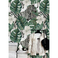 Zebra decor Animals wall mural Leaves removable wallpaper self-adhesive