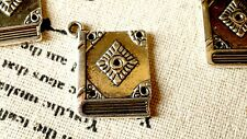 Book charm 8 silver vintage style jewellery supplies