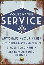 Retro Personalised Volkswagen Dealer VW Camper Van Medium Sized Tin Sign Italian