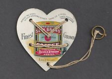 BOSTON, MA, CHAS & SANBORN COFFEE/TEA ADV TRADE & PUZZLE CARD STRING ATTACHED,